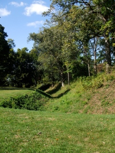 The wall around the Great Circle at Newark, Ohio, was built by digging a trench on both sides of the wall and massing the dirt thus excavated.